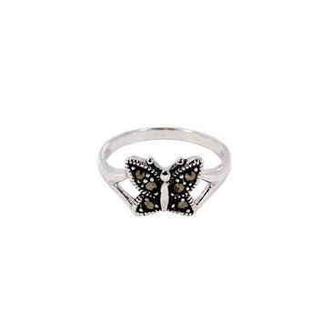 Adorable Antique Style Tiny Butterfly Sterling Silver Ring with Genuine Marcasite Stones and Rhodium Plate Finish