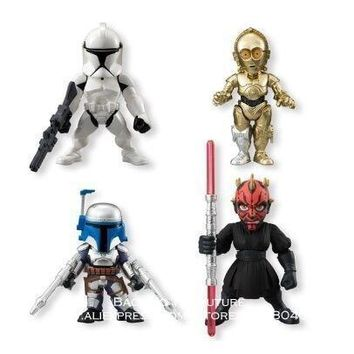 Star Wars Force Episode 1 2 3 4 5 Disney  4pcs/set The Force Awakens Darth Maul Robot R2-D2 Action Figure Anime Decoration Collection Figurine Toys model AT_72_6