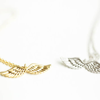 Angel love wing necklace,wing necklace, Jewelry,Necklace,gift idea,bridesmaid,wings necklace,angel necklace,angel wings,white angel,SNK48