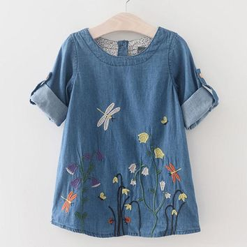 Butterfly Embroidery  Casual Spring/ Summer Style Dress For Kids