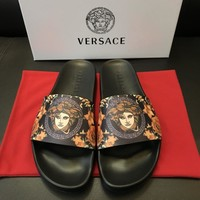 Versace Print Leather Slides Sandals Dsu6769