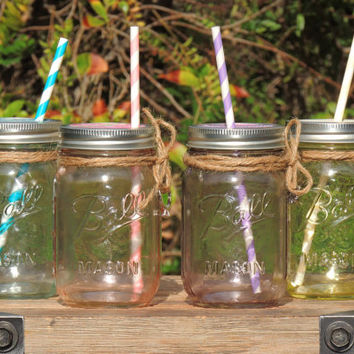Mason jar tumblers, wedding mason jars, mason jars with charms, tinted mason jars, colorful jars