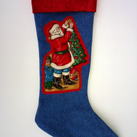 Upcycled Christmas Stocking, Denim with Santa Claus Trimming the Tree and Red Velvet Cuff