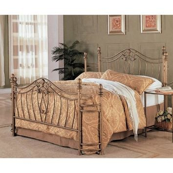 Queen Size Metal Bed with Headboard & Footboard in Antique Brushed Gold Finish