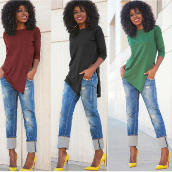 Side Split Irregular Hem Long Sleeve Blouse