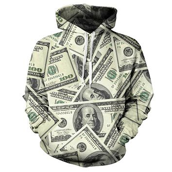 Real USA size Money 3D Sublimation Print OEM  Hoody/Hoodie  Custom made Clothing plus size
