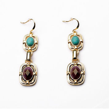 Turquoise & Burgundy Goldtone Long Earrings