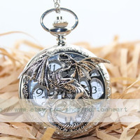 antique pocket watch necklace with silver lotr dragon mens jewellery