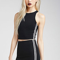Athletic-Striped Racerback Crop Top