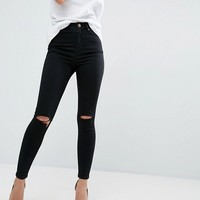 ASOS RIDLEY Skinny Jeans In Clean Black With Rips at asos.com