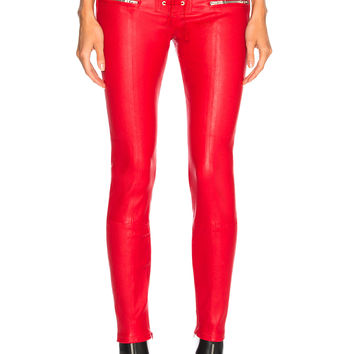 Unravel Leather Lace Up Seam Pants in Red   FWRD
