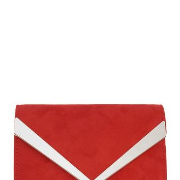 *Quiz Red Thick Plated Clutch Bag | Dorothyperkins