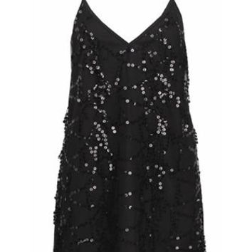 Miss Popular Black Sleeveless Spaghetti Strap V Neck Sequin Tassel Mock Tie Neck Mini Dress