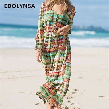 PEAPGC3 New Arrivals Beach Cover up Floral Vintage Swimwear Ladies Kaftan Beach Tunic Robe De Plage Long Bathing Suit Cover ups #Q141