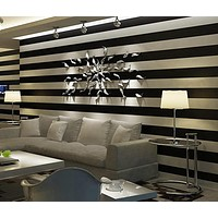 Black & White and Pink & White Deep Embossed Vertical Stripes Wallpaper