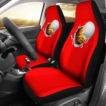 Flaming Golf Ball Red Seat Covers