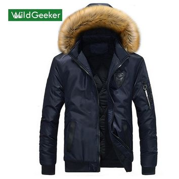 Wildgeeker Men's Winter Thick Down Coats 2017 New Solid Pockets Stand Collar Fur Hat 3D Pattern Men's Casual Slim Thermal Coats