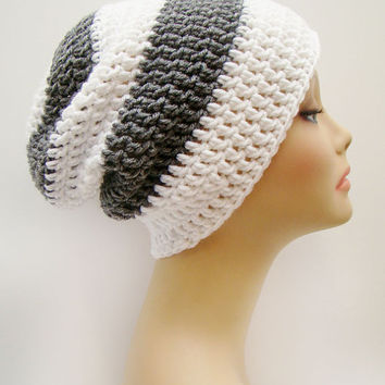 FREE SHIPPING - Mens or UNISEX Stripes Slouchy Crochet Beanie Hat - Heather Gray & Bright White