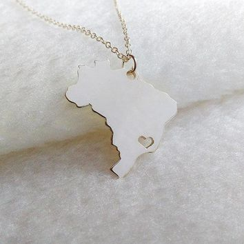 1PCS South America Country Map Brazil Necklace Brazilian Brasil Pride I Heart Love Sao Paulo City Necklaces for Souvenir Gifts