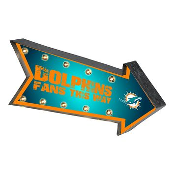 Miami Dolphins Sign Marquee Style Light Up Arrow Design