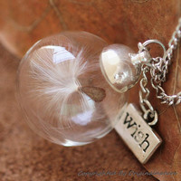 Nature Inspired Jewelry Real Dandelion Necklace Pendant Gift (HM0093-SLIVER)
