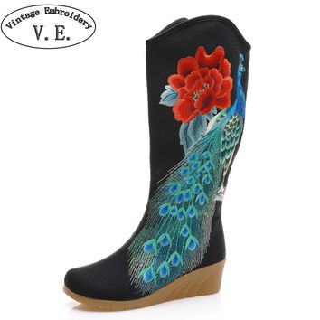 Women Winter Boots Peacock Embroidered Canvas Mid Boots  Hidden Wedges High Heel Ladies Tall Black Booties Botas Mujer