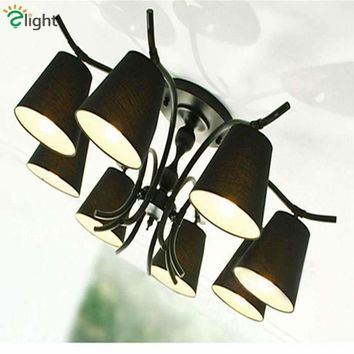 American Retro Iron Led Chandeliers Lamp Simple White/Black Fabric Shades Living Room Bedroom Led Ceiling Chandelier Lighting