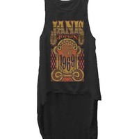 JANIS JOPLIN - LOVE 1969 JUNIORS SEMI-SHEER CHIFFON FRONT HI-LOW TANK, SLEEVELESS TANK WITH ASYMMETRICAL HEMLINE. WEAR WITH BANDEAU TOP AND DENIM CUT OFF.