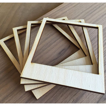 4 Pieces Laser Cut Wood Frames Embellishments-  Polaroid Frames