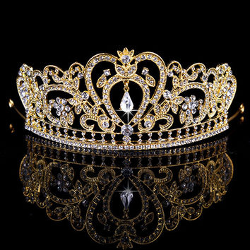 2016 New Gold Silver Bridal Tiaras Crowns Crystal Rhinestone Pageant Bridal Wedding Accessories Headpiece Headband Wedding Tiara