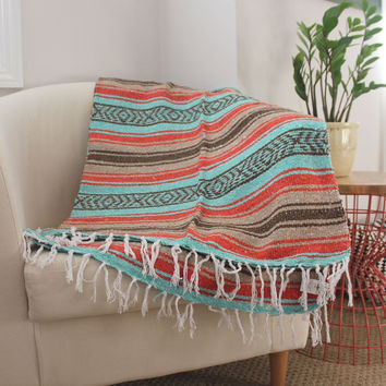 Mexican Blanket Mint, Tan, Burnt Orange and Brown Blanket Vintage Style