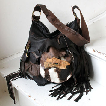 2f6db71ad1 Large leather bag hobo brown pirate style bohemian boho festi.