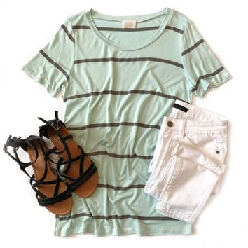 Mint and Gray Striped Top