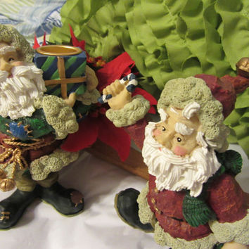 A Pair of Unique Vintage Resin Santa Figurine Christmas Holiday Candle Holders - Great Decorations