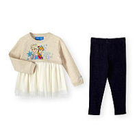 Disney Frozen Girls 2 Piece Anna and Elsa Playwear Set with Long Sleeve Tulle Skirted Top and Jeggings - Toddler