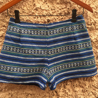 Blue Boho Shorts Tribal Festival Colorful winter fall fashion Hmong Hippies bohemian Hill tribe Clothing Ikat Ethnic Woven Fabric teen girls