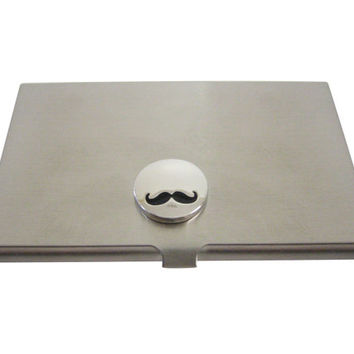 Glossy Circular Mustache Business Card Holder
