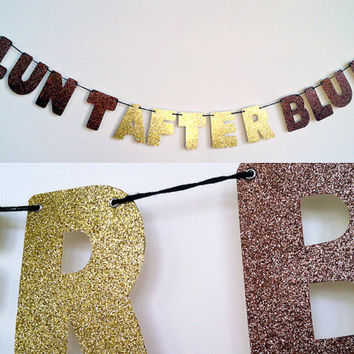 BLUNT AFTER BLUNT Glitter Banner Wall Decoration Garland - Danny Brown - Sparkly Copper & Gold