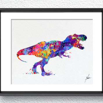 Trex Dinosaur Art Print Watercolor Print Nursery Illustration Giclee Kids Children Wall Comic Baby Room Decor Wall Art Wall HangingItem 278
