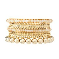 Gold & Stone Stackable Bracelets - 10 Pack - Pale Peach