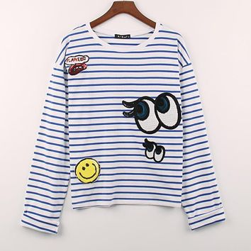 2 Colors Autumn Winter T-shirt Women Smile&Eyes&Lip Sequined Sequins T Shirt Women Long Tops Casual Stripes Tee Shirt Femme