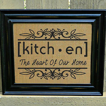 Burlap Print, Kitchen Sign, Home Decor, Shabby Chic Sign, Burlap Sign - FREE Priority Shipping!