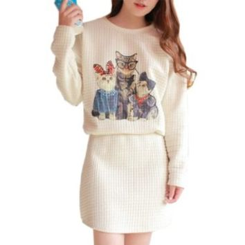 Partiss Womens Cats Print Round Neck Waisted Dress One size White