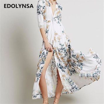 PEAPGC3 New Arrivals Beach Cover up Chiffon Print Swimwear Ladies Saida de Praia Beach Long Dress Tunic Women Kaftan Robe de Plage #Q161