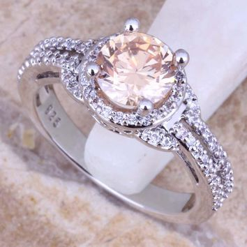 Champagne Morganite White CZ 925 Sterling Silver Ring