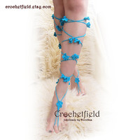 Sexy LACE UP flowers crochet barefoot sandals, knee high, gladiator boots, long, lace, beach, pool, leggings, wedding