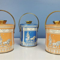 Vintage Murray Allen Collectible Tin Pails ROMAN Pattern White Peach Blue Gold Small Tea Tins Sewing Boxes Shelf Decor Shabby Chic Farmhouse