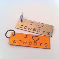 "Inspirational Hand Stamped Word Charm Tag ""I LOVE COWBOYS"" - Your choice of Antique Nickel or Copper"