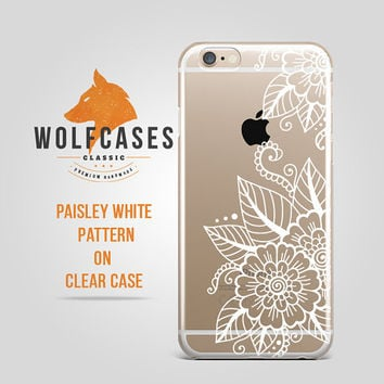 White Flowers Paisley Mandala Leaves Contour Ultra Thin Clear Case Cover for iPhone 6 6s Plus Samsung S4 Galaxy S5 S6 Note iPod 077