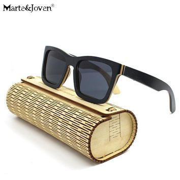[Marte&Joven] Fashion Multicolor Wood Frame Square Wooden Sunglasses Women Men Mirrored HD Polarized Driving Eyewears With Case